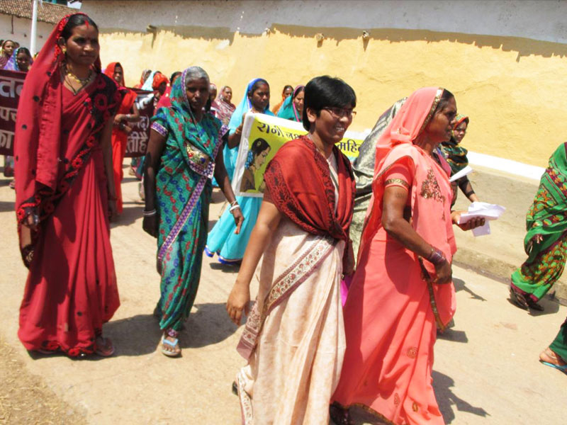 Sr. Seema with women in rally against liquor